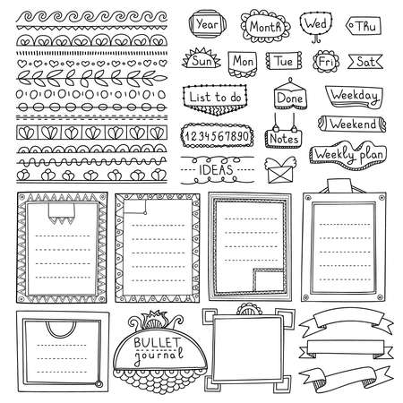 Bullet journal hand drawn vector elements for notebook, diary and planner. Doodle banners isolated on white background. Days of week, notes, list, frames, dividers, ribbons. Stock Vector - 110013658
