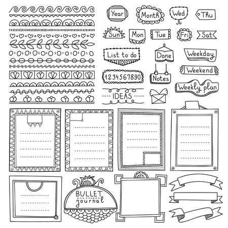 Elementi vettoriali disegnati a mano di bullet journal per notebook, diario e pianificatore. Banner Doodle isolati su sfondo bianco. Giorni della settimana, note, elenco, cornici, divisori, nastri.