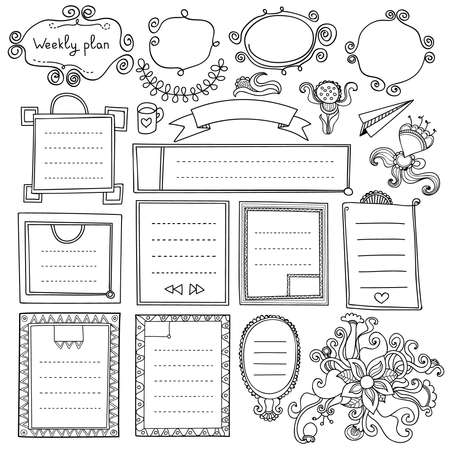 Bullet journal hand drawn vector elements for notebook, diary and planner. Doodle banners isolated on white background. Days of week, notes, list, frames, dividers, ribbons, flowers.