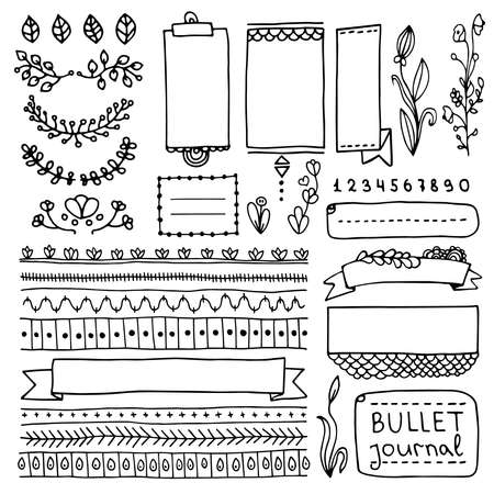 Bullet journal hand drawn vector elements for notebook, diary and planner. Doodle banners isolated on white background. Notes, list, frames, dividers, ribbons. Archivio Fotografico - 108161328