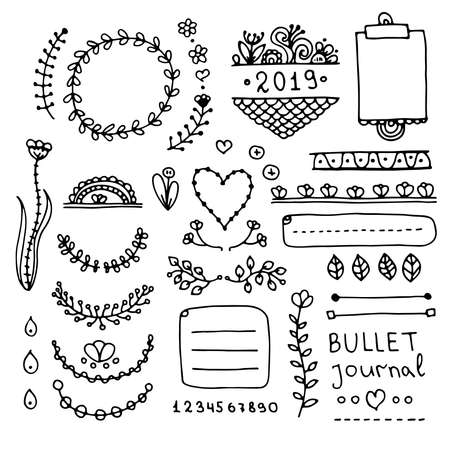 Bullet journal hand drawn vector elements for notebook, diary and planner. Doodle banners isolated on white background. Notes, list, frames, dividers, flowers.