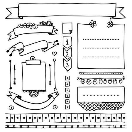 Hand gezeichnete Vektorelemente des Aufzählungsjournals für Notizbuch, Tagebuch und Planer. Gekritzelbanner lokalisiert auf weißem Hintergrund. Notizen, Liste, Rahmen, Teiler, Bänder.