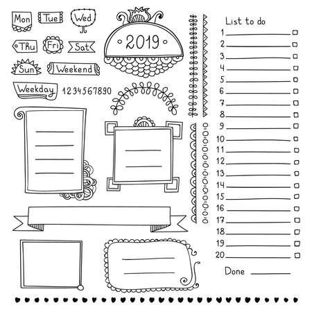 Hand gezeichnete Vektorelemente des Aufzählungsjournals für Notizbuch, Tagebuch und Planer. Gekritzelbanner lokalisiert auf weißem Hintergrund. Wochentage, Notizen, Liste, Rahmen, Trennwände, Bänder.