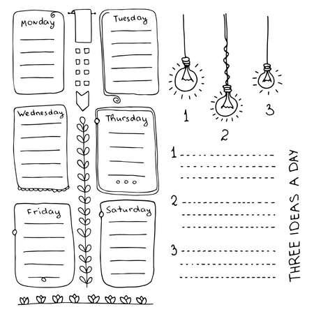 Elementi vettoriali disegnati a mano di bullet journal per notebook, diario e pianificatore. Banner Doodle isolati su sfondo bianco. Giorni della settimana, note, elenco, cornici, divisori.