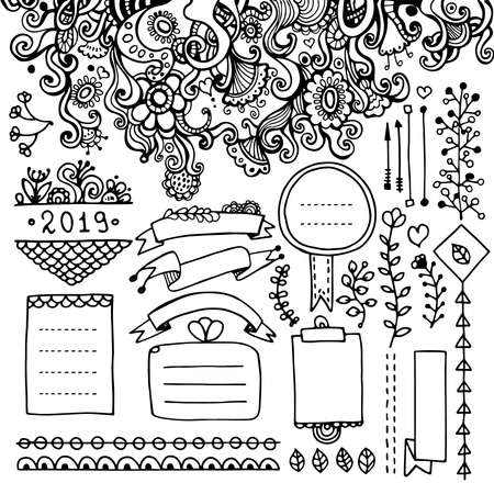 Bullet journal hand drawn vector elements for notebook, dairy, and planner. Doodle frames, ribbons, dividers, different floral elements.