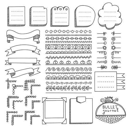 Elementi vettoriali disegnati a mano di Bullet Journal per notebook, diario e pianificatore. Bandiere di Doodle isolate su priorità bassa bianca. Note, lista, cornici, divisori, angoli, nastri.