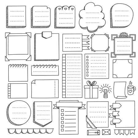 Elementi vettoriali disegnati a mano di Bullet Journal per notebook, diario e pianificatore. Bandiere di Doodle isolate su priorità bassa bianca. Note, elenco, cornici e altri elementi.