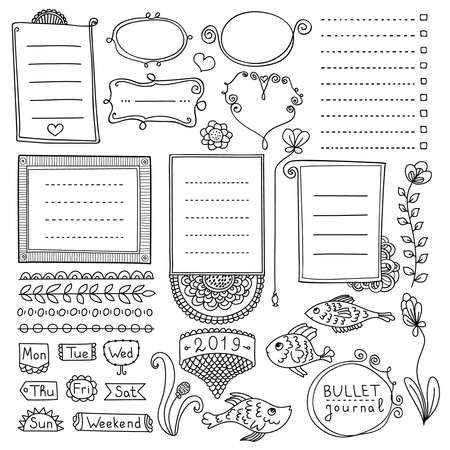 Bullet journal hand drawn vector elements for notebook, diary and planner. Doodle banners isolated on white background. Days of week, notes, list, frames, dividers.