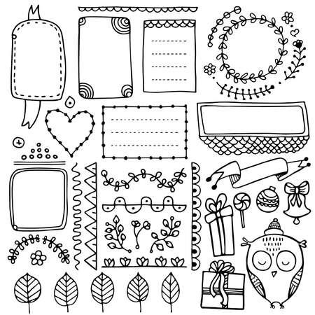 Hand gezeichnete Vektorelemente des Aufzählungsjournals für Notizbuch, Tagebuch und Planer. Satz Gekritzelrahmen, Fahnen und Blumenelemente lokalisiert auf weißem Hintergrund.