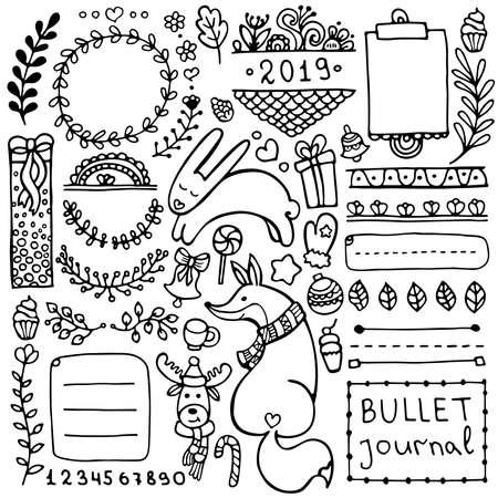 Elementi vettoriali disegnati a mano di Bullet Journal per notebook, diario e pianificatore. Set di cornici scarabocchiate, striscioni ed elementi floreali e altri isolati su sfondo bianco. Vettoriali