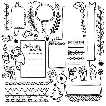 Bullet journal hand drawn vector elements for notebook, diary and planner. Set of doodle frames, banners and floral and Christmas elements isolated on white background.  イラスト・ベクター素材