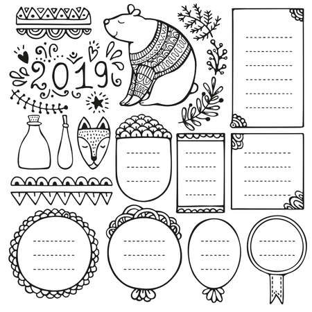 Bullet journal hand drawn vector elements for notebook, diary and planner. Doodle frames isolated on white background.  イラスト・ベクター素材