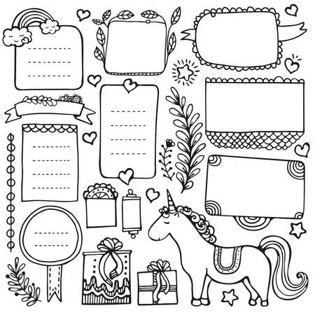 Elementi vettoriali disegnati a mano di Bullet Journal per notebook, diario e pianificatore. Cornici di scarabocchio isolate su priorità bassa bianca.