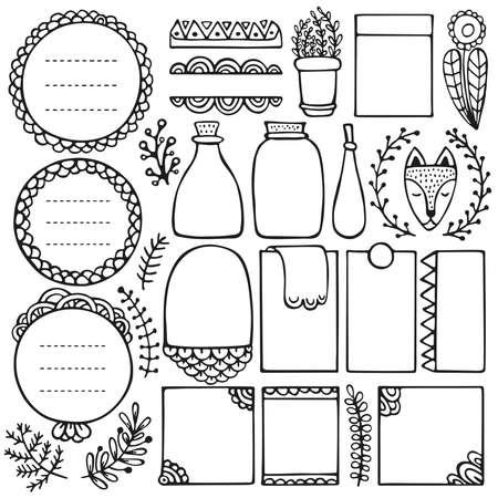 Bullet Journal handgezeichnete Vektorelemente für Notebook, Tagebuch und Planer. Gekritzelrahmen lokalisiert auf weißem Hintergrund. Vektorgrafik