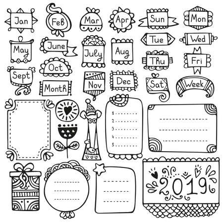 Elementi vettoriali disegnati a mano di Bullet Journal per notebook, diario e pianificatore. Cornici di scarabocchio isolate su priorità bassa bianca. Vettoriali