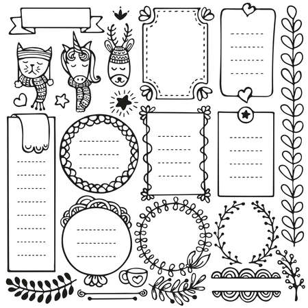 Bullet journal and Christmas hand drawn vector elements for notebook, diary and planner. Doodle frames isolated on white background. Illustration