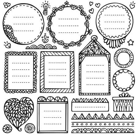 Elementi vettoriali disegnati a mano di Bullet Journal per notebook, diario e pianificatore. Insieme dei telai di Doodle isolato su priorità bassa bianca.