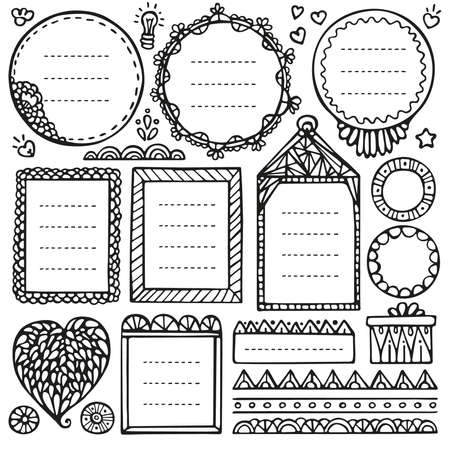Bullet journal hand drawn vector elements for notebook, diary and planner. Doodle frames set isolated on white background. Illustration