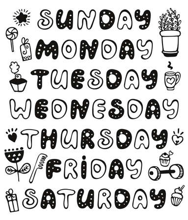 Hand drawn vector weekdays and elements for notebook, diary, calendar, schedule, sticker, bullet journal, and planner. Cute doodle days of the week set isolated on white background. Round font. Sunday, Monday, Tuesday, Wednesday, Thursday, Friday, Saturday.