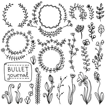 Bullet journal hand drawn vector elements for notebook, diary and planner. Set of doodles branches, herbs, flowers, plants. Illustration