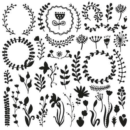 Bullet journal hand drawn vector elements for notebook, diary and planner. Set of doodles branches, herbs, flowers, plants. Illusztráció
