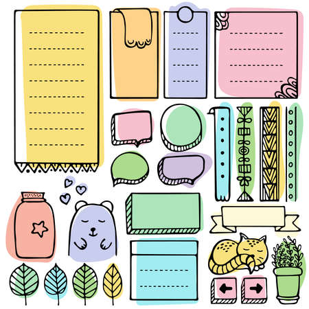 Bullet journal hand drawn elements for notebook, diary and planner. Doodle frames set isolated on white background.