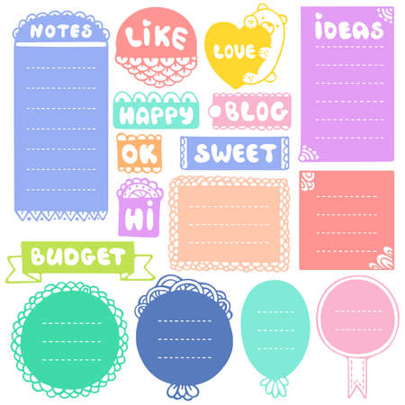 Bullet journal hand drawn vector elements for notebook, diary and planner. Doodle frames set isolated on white background. Çizim