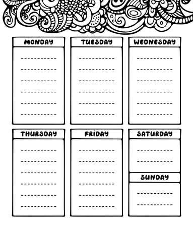 Modèle de planificateur hebdomadaire noir et blanc de dessin à la main. Organisateur de papeterie de griffonnage mignon et calendrier pour les plans quotidiens, agenda, horaires. Style de journal à puces. Illustration vectorielle.