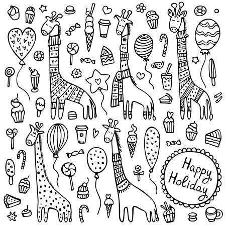 A set of doodle giraffes with knitted scarves and warm winter sweaters surrounded by balloons, cakes, candies, and other sweet things. Cute hand drawn vector illustration.