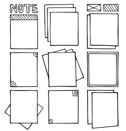 Bullet journal hand drawn vector frames for notebook, diary and planner. Set of sketch stickers, different note papers. Doodle banners isolated on white background.