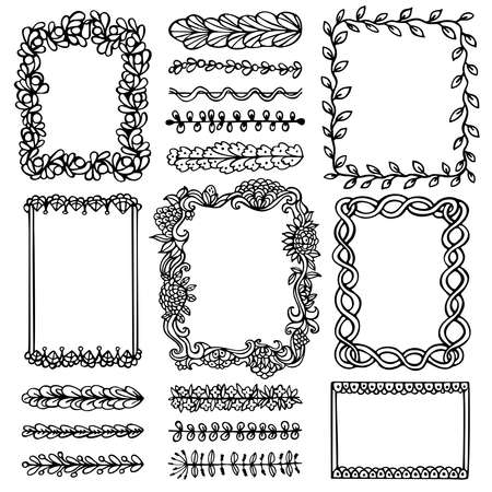 Bullet journal hand drawn vector frames and elements for notebook, diary and planner. Set of doodle black borders isolated on white background.