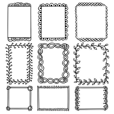 Bullet journal hand drawn vector frames for notebook, diary and planner. Set of doodle black borders isolated on white background.