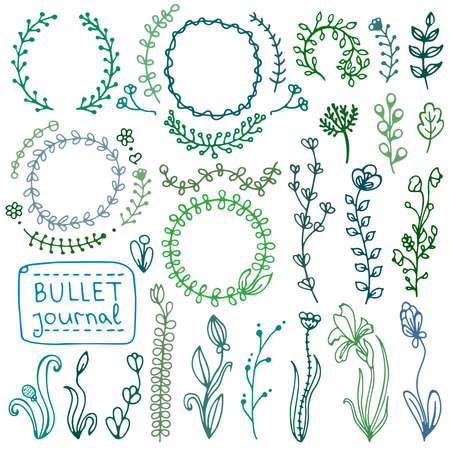 Bullet journal hand drawn vector elements for notebook, diary and planner. Set of doodles branches, herbs, flowers, plants.