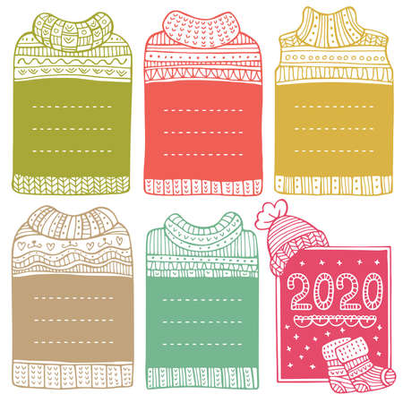 Hand-drawn vector winter frames in the shape of sweaters. Set of doodle borders for bullet journal, notebook, diary, and invitations. Christmas collection isolated on white background.