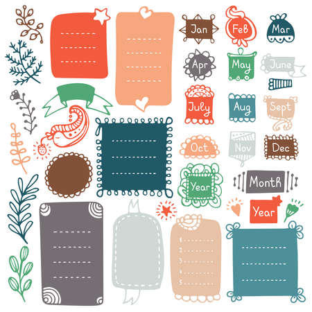 Bullet journal hand drawn vector elements for notebook, diary and planner. Doodle frames isolated on white background.  Vettoriali