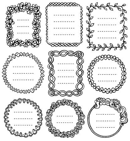 Set of black doodle frames for bullet journal, notebook, diary, and planner isolated on white background. Hand-drawn vector illustration with space for your text.