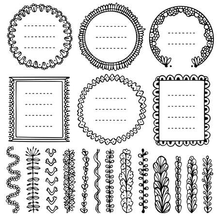 Set of black doodle frames, vignettes, and dividers for bullet journal, notebook, diary, and planner isolated on white background. Hand-drawn vector illustration with space for your text. Illustration