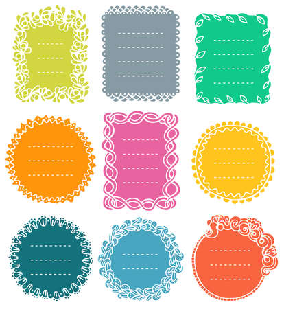 Set of doodle frames for bullet journal, notebook, diary, and planner isolated on white background. Hand-drawn vector illustration with space for your text.