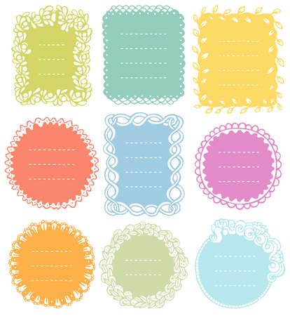 Set of doodle frames for bullet journal, notebook, diary, and planner isolated on white background. Hand-drawn vector illustrationwith space for your text.