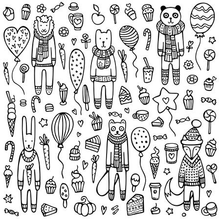 A set of doodle animals with knitted scarves and warm winter sweaters surrounded by balloons, cakes, candies, and other sweet things. Cute hand drawn vector background.