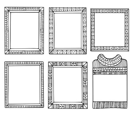 Collection of hand-drawn winter knitted frames. Set of doodle black borders for bullet journal, notebook, diary, and invitations. Christmas elements isolated on a white background.