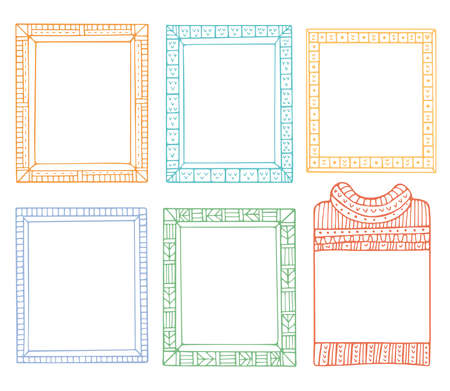 Collection of hand-drawn winter knitted frames. Set of doodle borders for bullet journal, notebook, diary, and invitations. Christmas elements isolated on a white background. Illustration