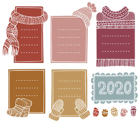 Collection of hand-drawn winter knitted frames. Set of doodle borders for bullet journal, notebook, diary, and invitations. Christmas elements isolated on a white background. Illusztráció
