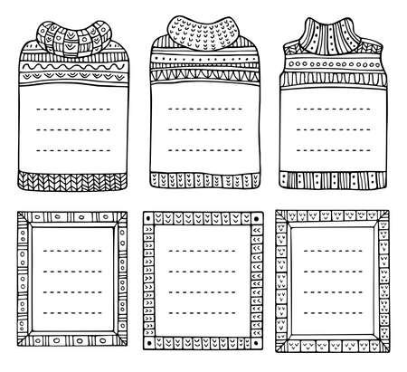 Conjunto de marcos de punto de invierno hechos a mano en forma de jerséis y rectangulares. Doodle bordes negros para diario de viñetas, cuaderno, diario e invitaciones. Elementos navideños aislados en un blanco. Ilustración de vector