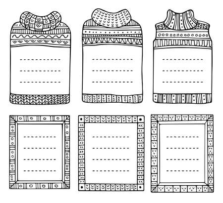 Set of hand-drawn winter knitted frames in the shapes of jumpers and rectangular. Doodle black borders for bullet journal, notebook, diary, and invitations. Christmas elements isolated on a white. Vetores