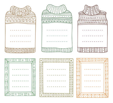 Set of hand-drawn winter knitted frames in the shapes of jumpers and rectangular. Doodle borders for bullet journal, notebook, diary, and invitations. Christmas elements isolated on a white. Vektoros illusztráció