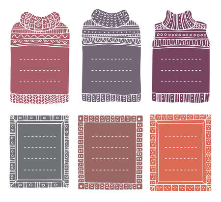 Set of hand-drawn winter knitted frames in the shapes of jumpers and rectangular. Doodle borders for bullet journal, notebook, diary, and invitations. Christmas elements isolated on a white. Illusztráció