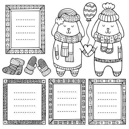A couple of rabbits in love with heart and balloon in their paws and set of hand-drawn frames. Collection of doodle black winter vector borders isolated on white background.