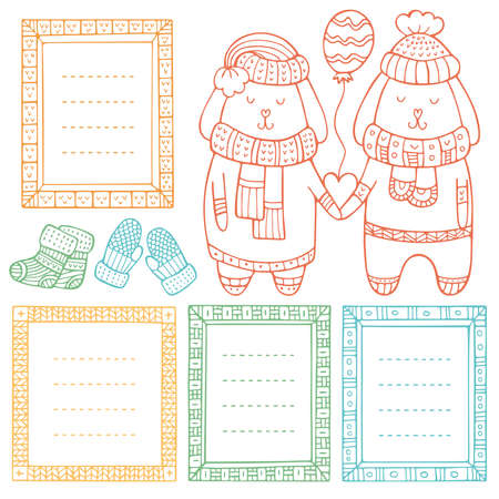 A couple of rabbits in love with heart and balloon in their paws and set of hand-drawn frames. Collection of doodle winter vector borders isolated on white background.