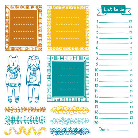 Bear, sheep, and set of hand-drawn frames and dividers for bullet journal, notebook, diary or planner. Collection of doodle vector borders isolated on white background.